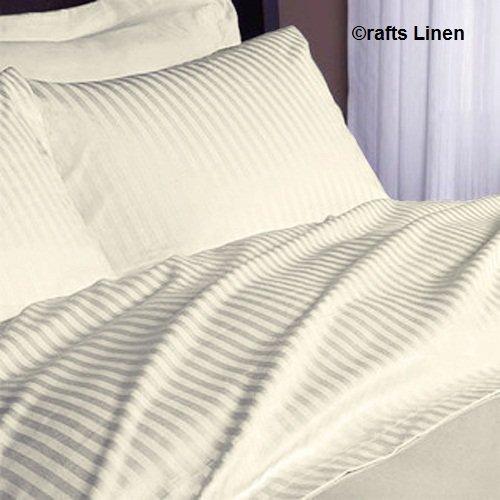 Pocket Depth Ivory Stripe UK Caesar 1 Duvet Cover Zipper Closer,1 Fitted Sheet /& 2 Pillow Case +45 CM Crafts Linen Egyptian Cotton 500-Thread-Count Sateen 4 PCs Set