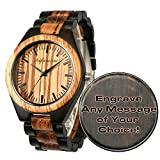 Custom Wooden Watches, Engraved Watches for Men Women Dad Mom Husband Boyfriend Groomsmen Son Personalized Wood Watch Gifts for Father's Day Birthday Anniversary Wedding Christmas with Wooden Box