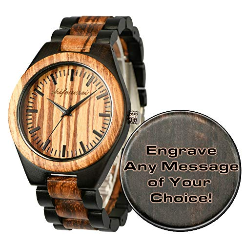 Custom Wooden Watches, Engraved Watches for Men Women Dad Mom Husband Boyfriend Groomsmen Son Personalized Wood Watch Gifts for Father