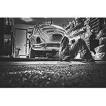 LAMINATED 36x24 Poster: Car Repair Car Workshop Repair Shop Garage Repairs Car Black And White Man Mechanic Vw Beetle Volkswagen Beetle Buggy Automotive Repair Workshop Tools Parts