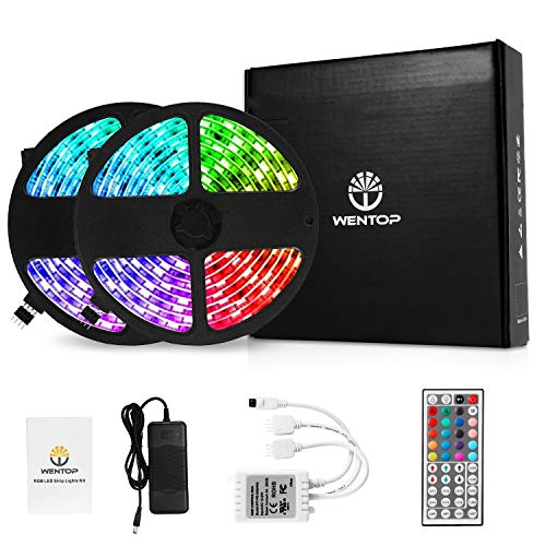 WenTop Led Light Strip Kit SMD 5050 32.8 Ft (10M) 300leds RGB 30leds/m with DC12V UL Listed Power Supply and 44 Key Ir Controller for TV,Bedroom,Kitchen Under Counter, Under Bed Lighting