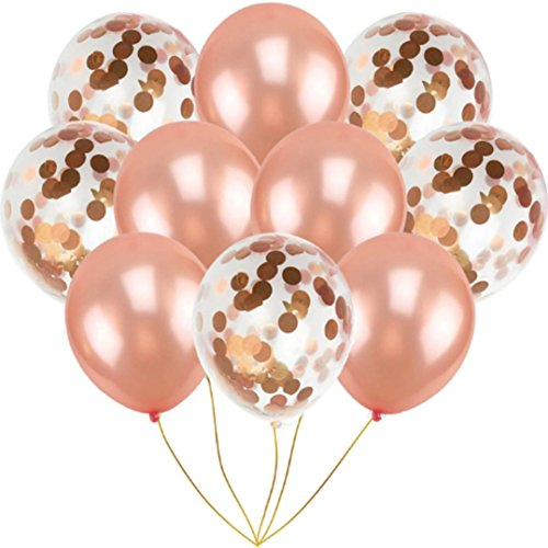 10PCS/set Confetti Balloons 12'' Latex Balloons for Birthday Party Proposal Wedding Anniversary Decoration, 3 Colors Available Gessppo (Rose gold) -