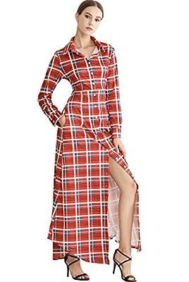 Wonderful Women Plaid Shirt Dress, Button up Split Casual Long Sleeve Maxi Dress with Pockets