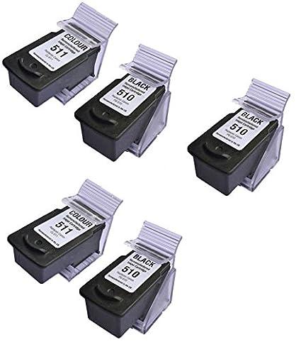 Prestige Cartridge 5 XL Cartuchos de tinta para Canon Pixma MP230 MP240 MP250 MP252 MP260 MP270 MP280 MP282 MP480 MP490 MP495 iP2700 iP2702 MX320 ...