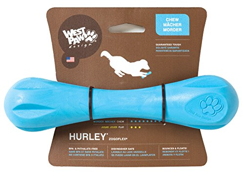 West Paw Design Zogoflex Hurley Guaranteed Tough Dog Bone Chew Toy, Large , Aqua