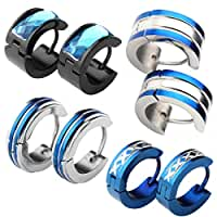 JOVIVI® 8pc Mens Stainless Steel Fashionable Multi-style Set Luxury Hinge Snap Huggie Hoop Earrings