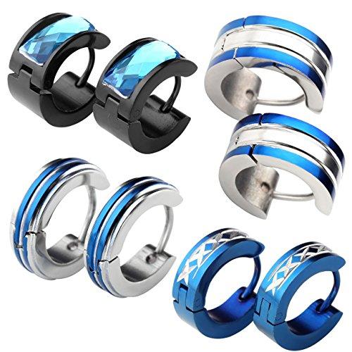 JOVIVI 8pc Mens Stainless Steel Fashionable Multi-style Set Luxury Hinge Snap Huggie Hoop Earrings