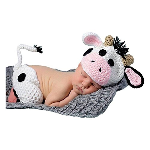 1d8abc1ae65b Newborn Baby Photo Prop Boy Girl Photo Shoot Outfits Crochet Knitted Clothes  Cows Hat Shorts Set Photography Shoot
