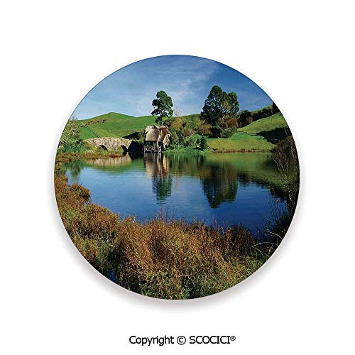 Friendly Village Coaster - Ceramic Coaster With Cork Mat on the back side, Tabletop Protection for Any Table Type, round coaster,Hobbits,Hobbit Land Village House by Lake with Stone Bridge,3.9