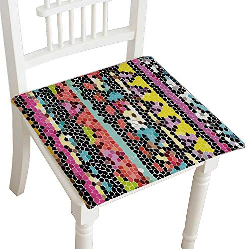 HuaWuhome Dining Chair Pad Cushion Abstract Indian Style Colorful with Mosaic Geometric Shapes Retro Ethnic Work Multicolor Fashions Indoor/Outdoor Bistro Chair Cushion 30