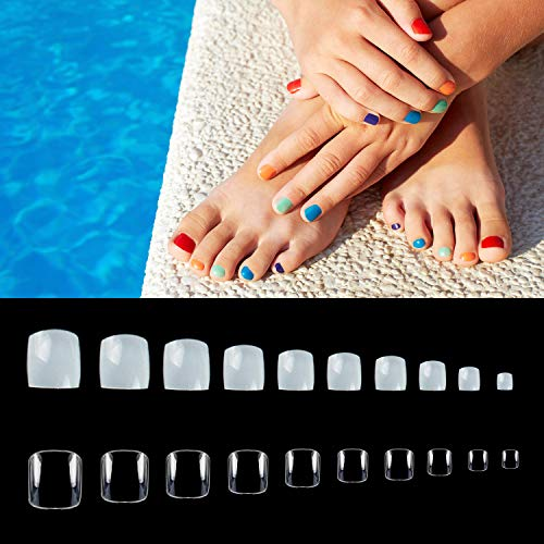 Amazon.com: 1000PCS Fake Toenail Tips Set Full Cover False ...