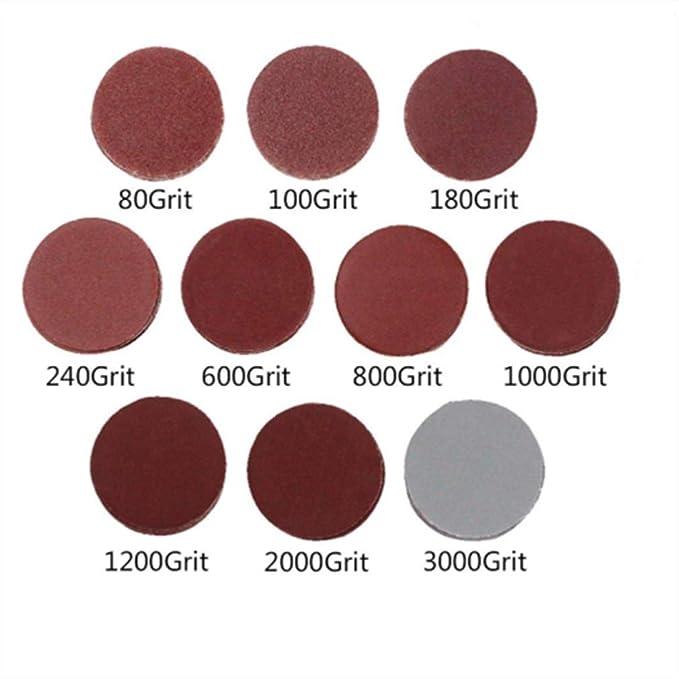 rojo Juego de 100 discos de lija 140 x 90 mm, grano 40//80//120//240//400 Hisredsun