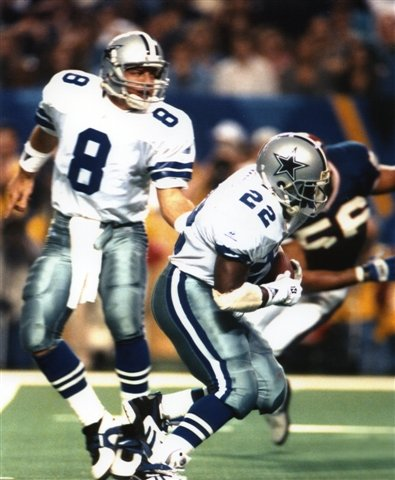 TROY AIKMAN & EMMITT SMITH DALLAS COWBOYS 8X10 SPORTS ACTION PHOTO
