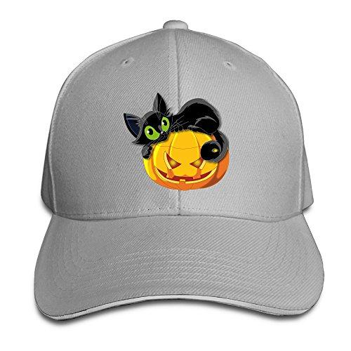 [ACMIRAN Halloween Pumpkin Cat Unisex Sandwich Baseball Caps One Size Ash] (Sports Related Halloween Costumes 2016)