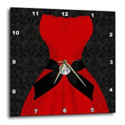 3D Rose Red Strapless Dress with Black Damask and Digital Bling Wall Clock, 10 x 10