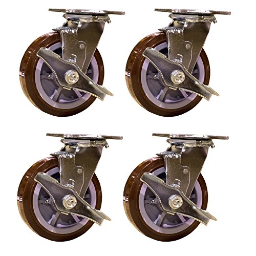 - Service Caster SCC-30CS620-PPUR-TLB-4 Heavy Duty Swivel Casters with Brakes, Non-Marking Polyurethane Wheel (Pack of 4)