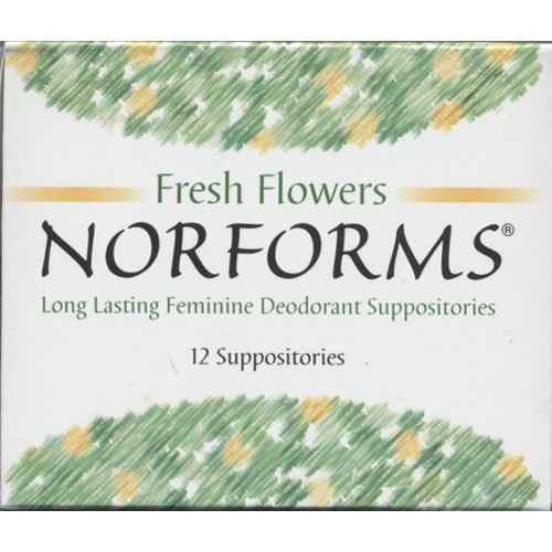 1 Box, Norforms Fresh Flowers Long Lasting Feminine Deodorant Suppositories, 12 Suppositories Total