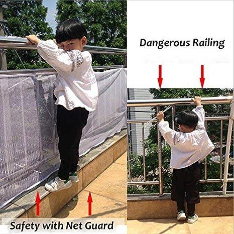 ParaCity - Red de seguridad para escalera de 3 metros extraíble y fácil de instalar, protector de balcón interior para mascotas, juguetes y banisterías reforzados: Amazon.es: Bebé