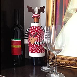 Zytree(TM) Cute Christmas Elk Red Wine Bottle Cover Bag Dinner Table Decoration Christmas Supplies Home Party Decor Supplies