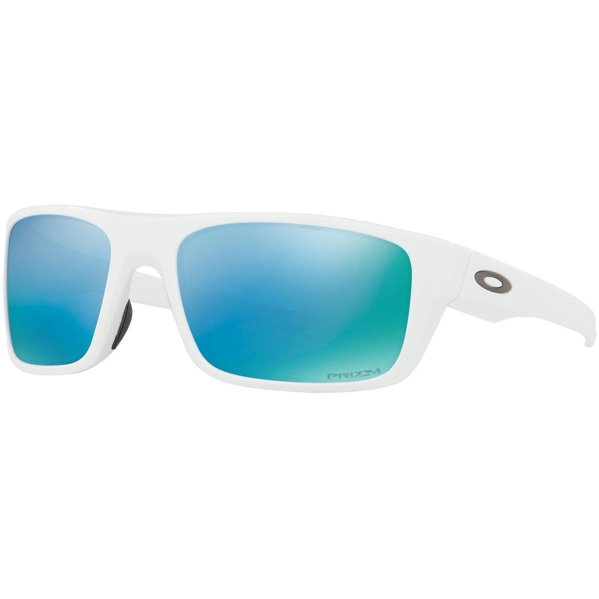 Oakley Men's Drop Point Polarized Sunglasses, Pol Wht/Przm Deep WaterPol,OS
