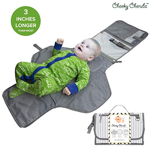 Portable Changing Pad, Portable Diaper Changing Pad, Diaper Bag Mat, Foldable Travel Changing Station | Stroller Strap, Carry Handle, Pockets for Wipes | for Infants & Newborns (Grey & White)