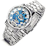 Lancardo Best Birthday Gift Fashion Blue Automatic Winding Mechanical Skeleton Style Silver Wrist Watch