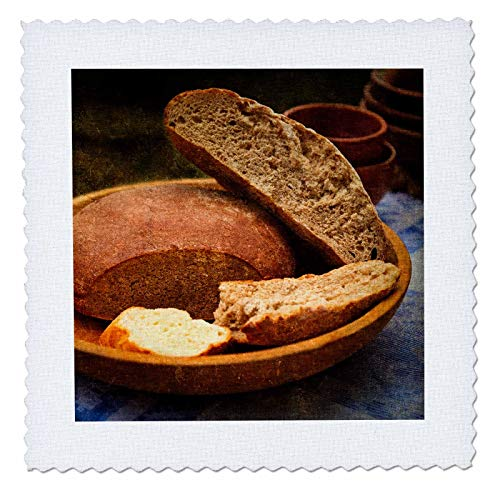 Earthenware Square Plates - 3dRose Alexis Photography - Still-Life - Still-Life with loafs of Bread in a Ceramic Plate. Earthenware - 20x20 inch Quilt Square (qs_308109_8)