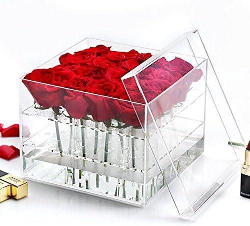 HQdeal frescas flores ramo de jarrón de cristal acrílico ...