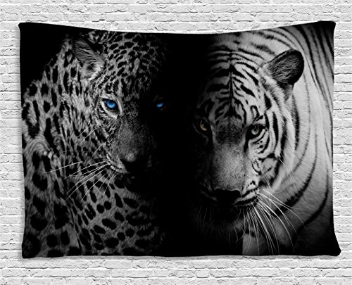 Ambesonne Black and White Tapestry, Leopards with Blue Eyes Aggressive Powerful Wildcat Profile Print, Wide Wall Hanging for Bedroom Living Room Dorm, 80