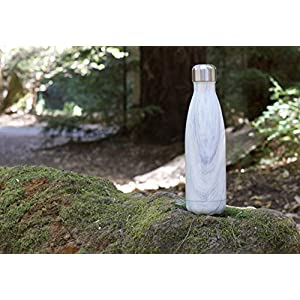 MIRA Vacuum Insulated Travel Water Bottle | Leak-proof Double Walled Stainless Steel Cola Shape Portable Water Bottle | No Sweating, Keeps Your Drink Hot & Cold | 17 Oz (500 ml) (White Granite)