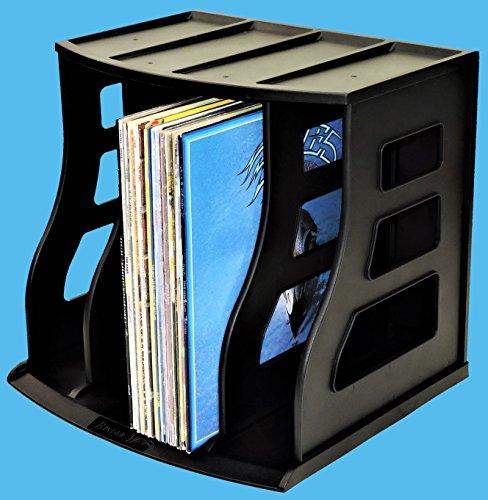 Stackable Vinyl Record Storage Rack 12'' LP Holder Organizer Over 75 Albums Ring Binder Stand Lever Arch Crate 12x12 Paper Storage Rack Magazine Holder Shelf Cube Box by Binder Way (Image #1)