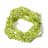 Shop LC Delivering Joy Peridot Chips Necklace and Wrap Stratch Bracelet for Women and Teen Girls Jewelry Gift (Stretchable)