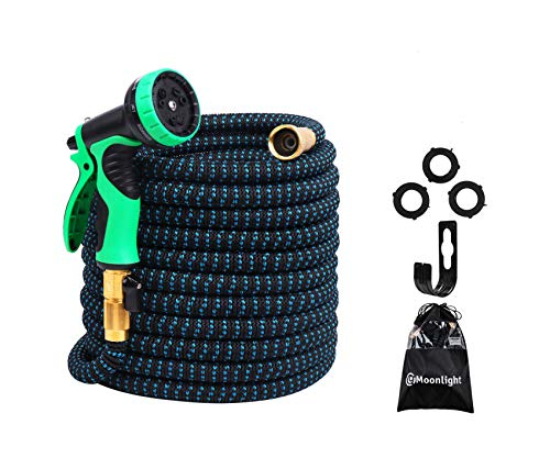 2018 Expandable Garden Hose 100ft – Best Water Hose with 3/4 Brass Connectors, 100% No Rust, Kinks or Leaks, Extra Strong Fabric – Outdoor Hose with 9-Way Spray Nozzle – Flexible Expanding Hose 100ft