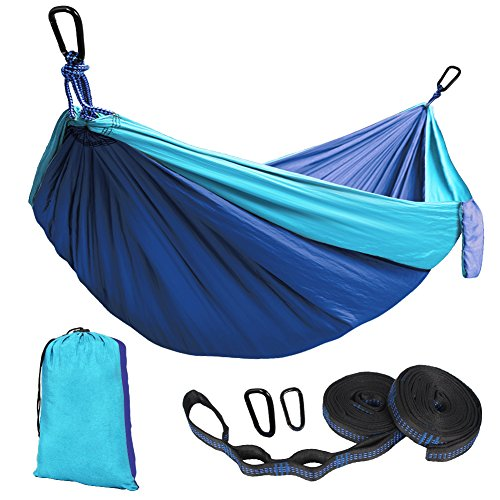 Kootek Camping Hammock Portable Indoor Outdoor Tree Hammock with 2 Hanging Straps, Lightweight Nylon Parachute Hammocks for Backpacking, Travel, Beach, Backyard, Hiking …