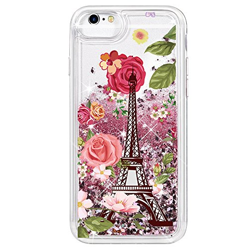 (Phone case for iPhone 8/7 Case, [Eiffel Tower] Quicksand Glitter Lite Hybrid Protector Cover Pretty Fashion Design for Girls)