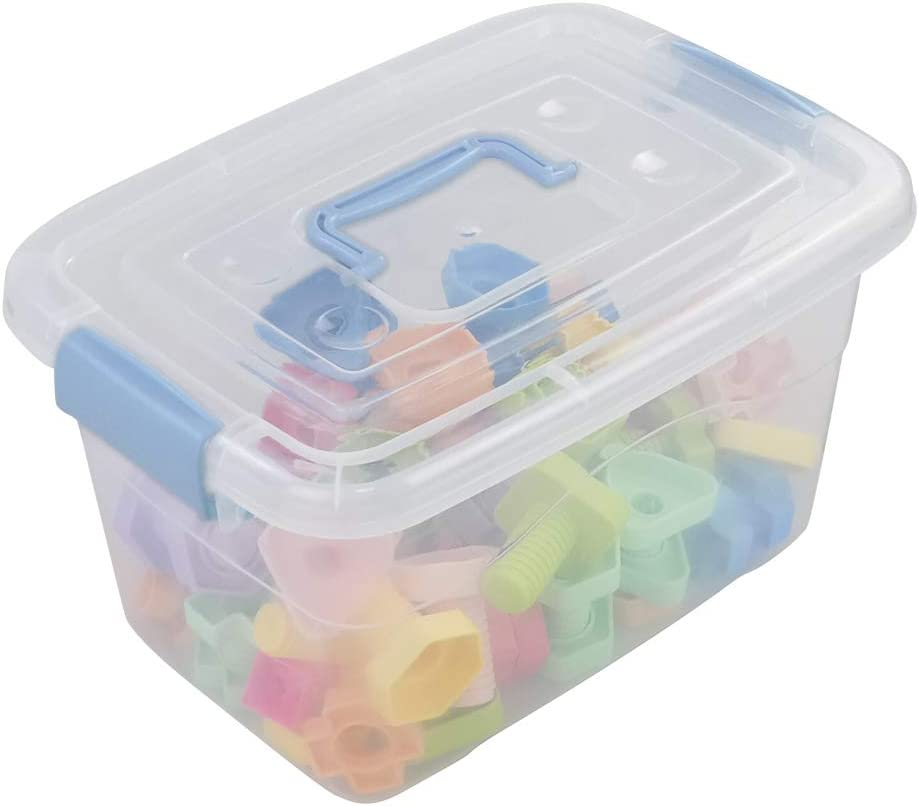 Sosody 12 Quart Clear Storage Boxes with Clear Lids and Light Blue Handles Plastic Storage Containers 1 Pack