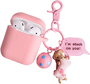 ZOEAST(TM) Famous Dog AirPods 2&1 Case, 3D Doll Charm Thick Soft Portable Ring Silicone Protective Shockproof Skin Cover Box Compatible with Apple Wireless Earphone Earplug Charging (Labrador)