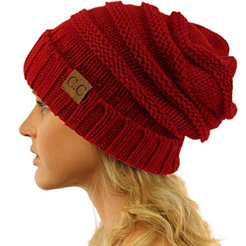 (Replacement for CC Winter Trendy Warm Oversized Chunky Baggy Stretchy Slouchy Skully Beanie Hat Red)