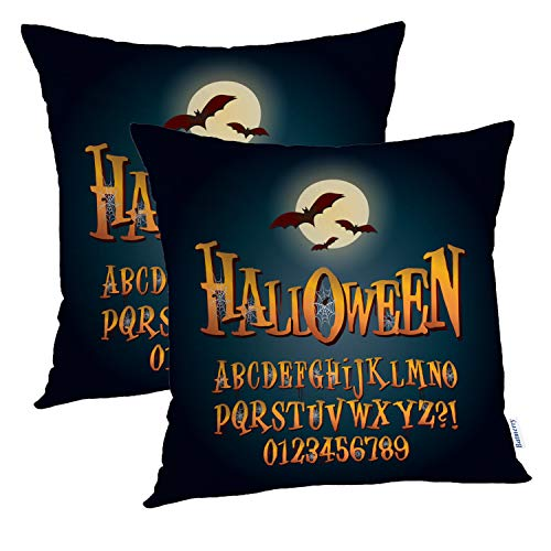 Batmerry Halloween Pillow Covers 18x18 inch Set of 2,Three Dimensional Halloween Alphabet Font Word Typo Ghost Evil Holiday Throw Pillows Covers Sofa Cushion Cover Pillowcase