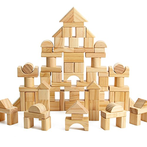- 100-Piece Wooden Building Blocks Stacking Set Toys for Kids(Natural Colored)