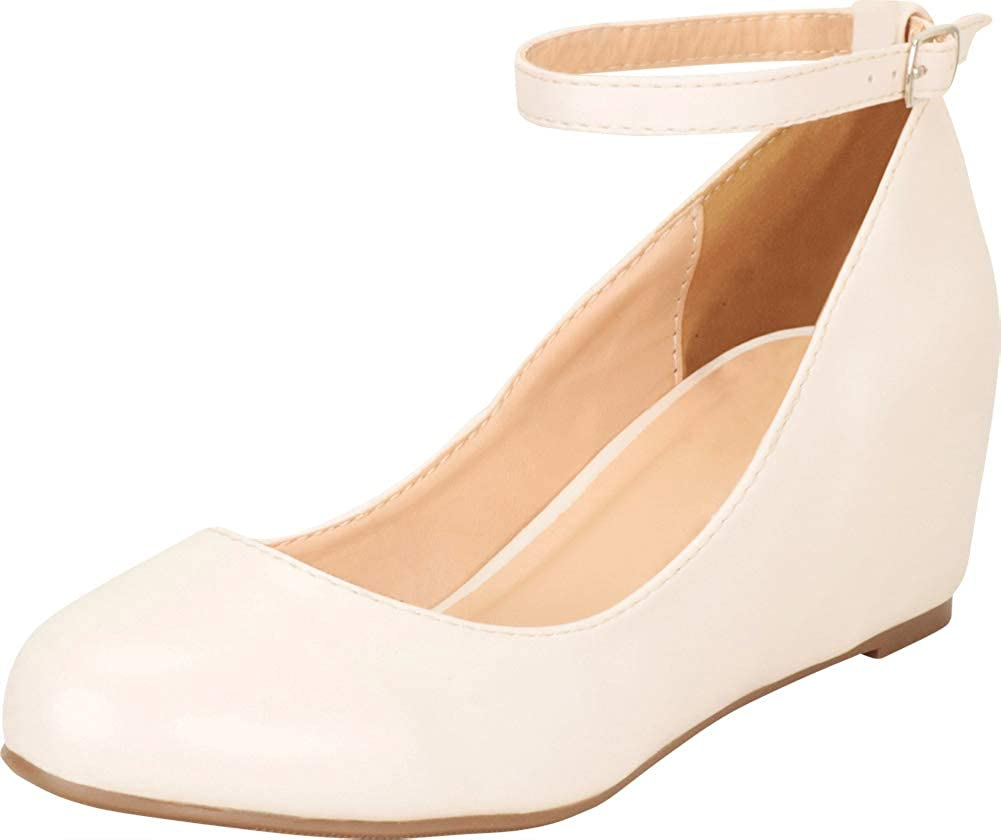 Nude Pu Cambridge Select Women's Round Toe Buckled Ankle Strap Wrapped Wedge