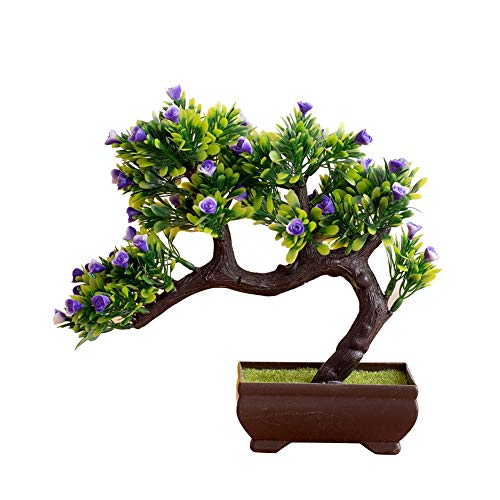 helegeSONG Fake Flowers Silk Plastic Artificial Plant 1Pc Artificial Flower Tree Pot Bonsai Stage Garden Wedding Party Balcony Decor for Home,Office,Wedding,Garden, Pool, Gift, Desk, Hotel - Blue ()