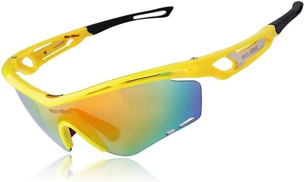WOLFBIKE Gafas de sol polarizadas para ciclismo Gafas de sol Gafas de ciclismo al aire libre deportes gafas con funda, amarillo: Amazon.es: Deportes y aire libre