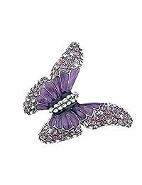 Alilang Butterfly Purple Enamel Crystal Amethyst Rhinestone Spring Fashion Custom Ring
