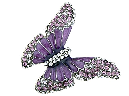 Alilang Butterfly Purple Enamel Crystal Synthetic Amethyst Rhinestone Spring Fashion Custom Ring