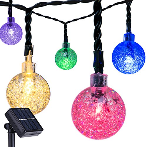 Outdoor Bistro Solar Powered Globe String Lights: DecorNova 20 Feet 30-LED Outdoor Fairy Lights Solar