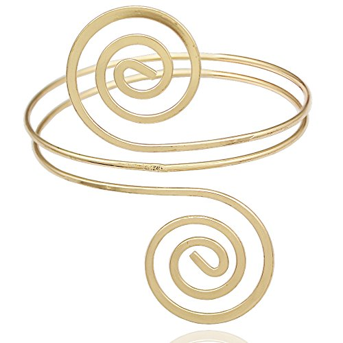 Gold Plated Q&Q Fashion Victorian Filigree Swirl Gypsy Boho Armband Upper Arm Cuff Armlet Belly (Arm Band Jewelry)