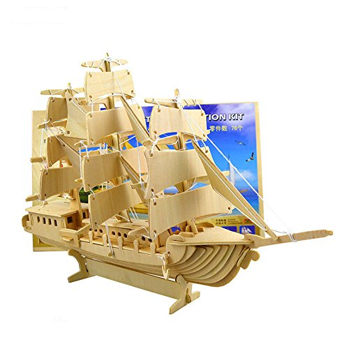 Wooden Jigsaw Puzzle 3D Sailing Ship Models Home Decoration Assembly Building Hand Craft Warship Game Toy for Kids (European Sailing Boat)
