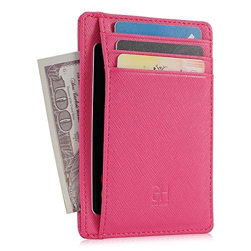 GH GOLD HORSE Slim RFID Blocking Card Holder Minimalist Leather Front Pocket Wallet for Women (Cross-RR) ()