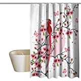 Japanese Decor Funny Shower Curtain Mythical Legendary Long-Lived Phoenix Bird on The Floral